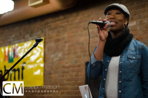 Vocalist Devan Rue performing at the 2013 Soul Café, presented by the Pittsburgh Black Media Federation.