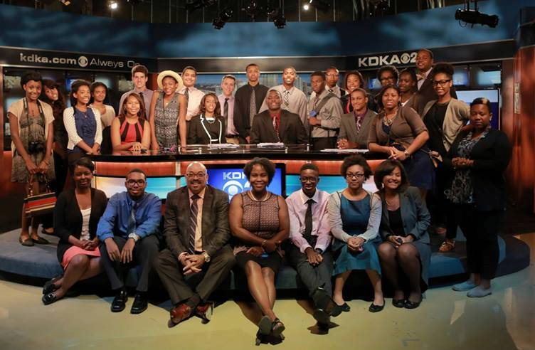 Students and instructors participating in the 31st annual Frank Bolden Urban Journalism Workshop visit KDKA-TV studios in August 2014.