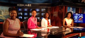Students in the 32nd annual Frank Bolden Urban Journalism Workshop record a newscast at KDKA-TV in August 2015.