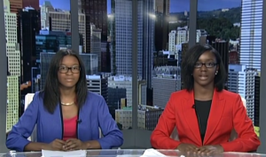 Teens in the Frank Bolden Urban Journalism Workshop tape a student newscast at KDKA in August 2016.